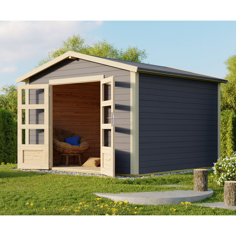 karibu holz gartenhaus tessin 2 terragrau 300 cm x 300 cm inkl massivholzboden kaufen bei obi. Black Bedroom Furniture Sets. Home Design Ideas
