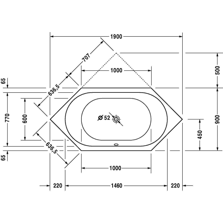 Extrem Duravit Badewanne D-Code 190 cm x 90 cm Sechseck Einbauversion TE39