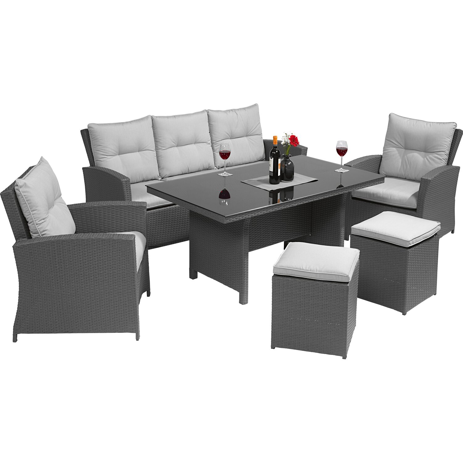 obi esstisch lounge gruppe vermont deep water concrete polyrattan 6 tlg kaufen bei obi. Black Bedroom Furniture Sets. Home Design Ideas