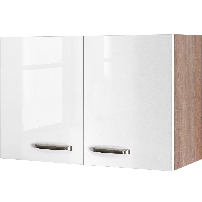 Flex-Well Exclusiv Oberschrank Valero 80 cm x 55 cm Hochglanz Weiß-Sonoma  Eiche