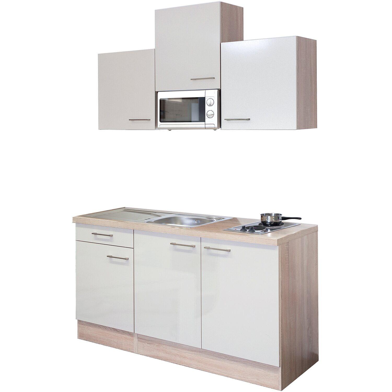 Flex-Well Exclusiv Singleküche/Miniküche Orlando 150 cm breit Kaschmir Glanz-Sonoma Eiche   Küche und Esszimmer > Küchen > Miniküchen   Flex-Well Exclusiv