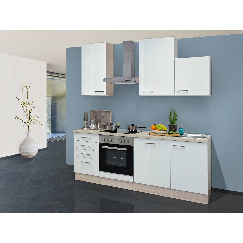 Flex-Well Exclusiv Küchenzeile Abaco 220 cm Perlmutt Glänzend-Akazie ...