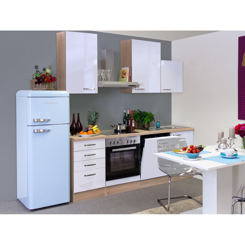 flex well exclusiv k chenzeile valero 220 cm hochglanz wei sonoma eiche kaufen bei obi. Black Bedroom Furniture Sets. Home Design Ideas