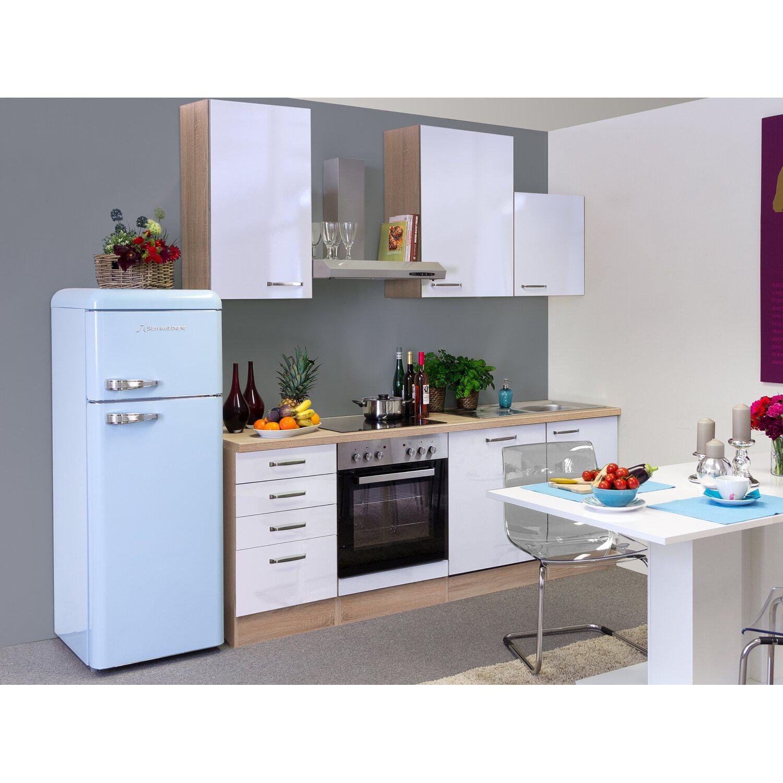 Flex-Well Exclusiv Küchenzeile Valero 220 cm Hochglanz Weiß-Sonoma Eiche
