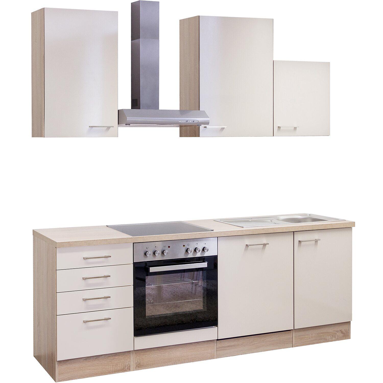 Flex-Well Exclusiv Küchenzeile Orlando 220 cm Kaschmir Glanz-Sonoma ...