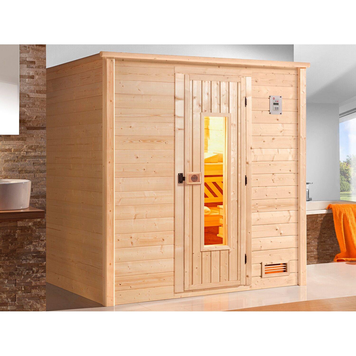 weka massivholz sauna 530 gr 2 mit holzt r ohne ofen kaufen bei obi. Black Bedroom Furniture Sets. Home Design Ideas