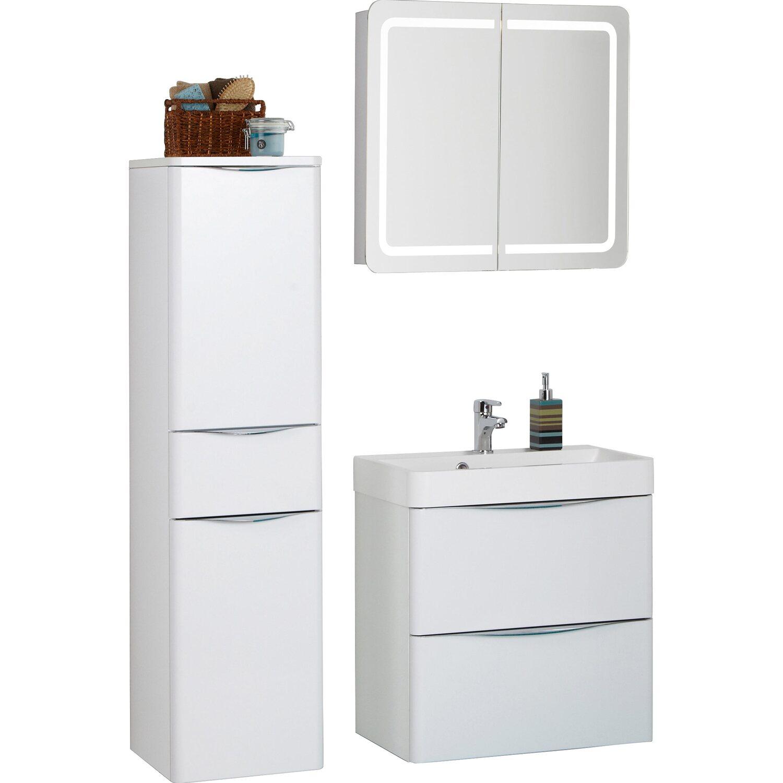 Scanbad Badmöbel-Set 60 cm mit Spiegelschrank Samba Weiß Hochglanz 3 ...