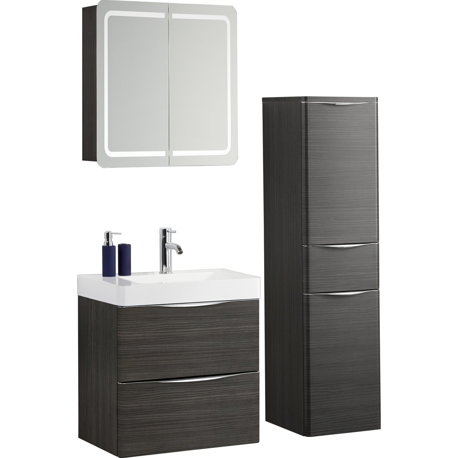 scanbad badm bel set 60 cm mit spiegelschrank samba hacienda braun 3 teilig kaufen bei obi. Black Bedroom Furniture Sets. Home Design Ideas