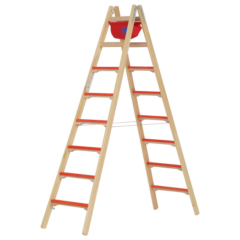 Hymer Holz-Tiefsprossenstehleiter 2 x 8 Sprossen | Baumarkt > Leitern und Treppen > Stehleiter | Hymer