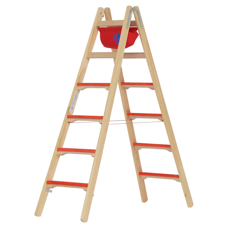 Hymer  Holz-Tiefsprossenstehleiter 2 x 6 Sprossen