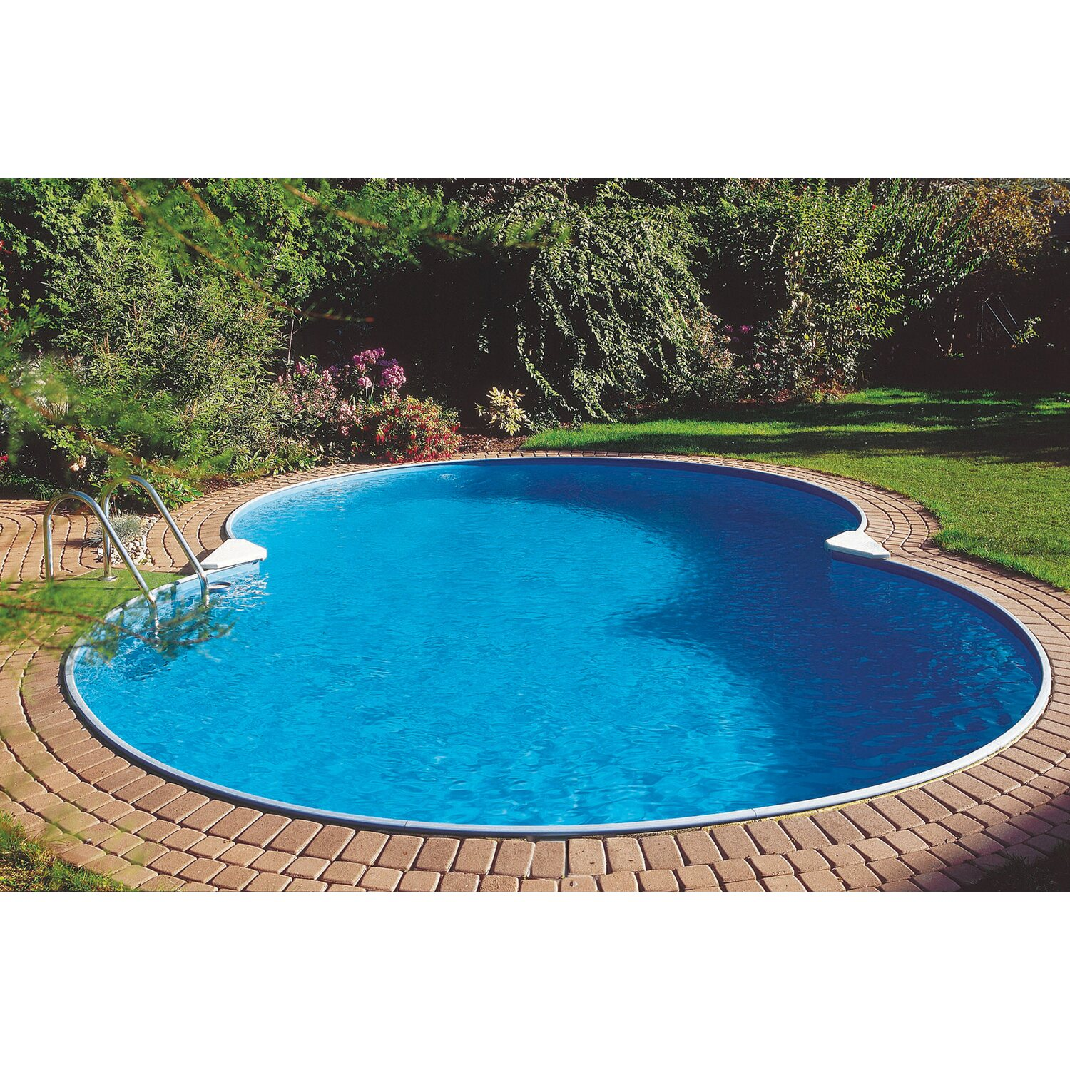 Stahlwand pool set colorado einbaubecken achtform 625 cm x for Pool stahlwand