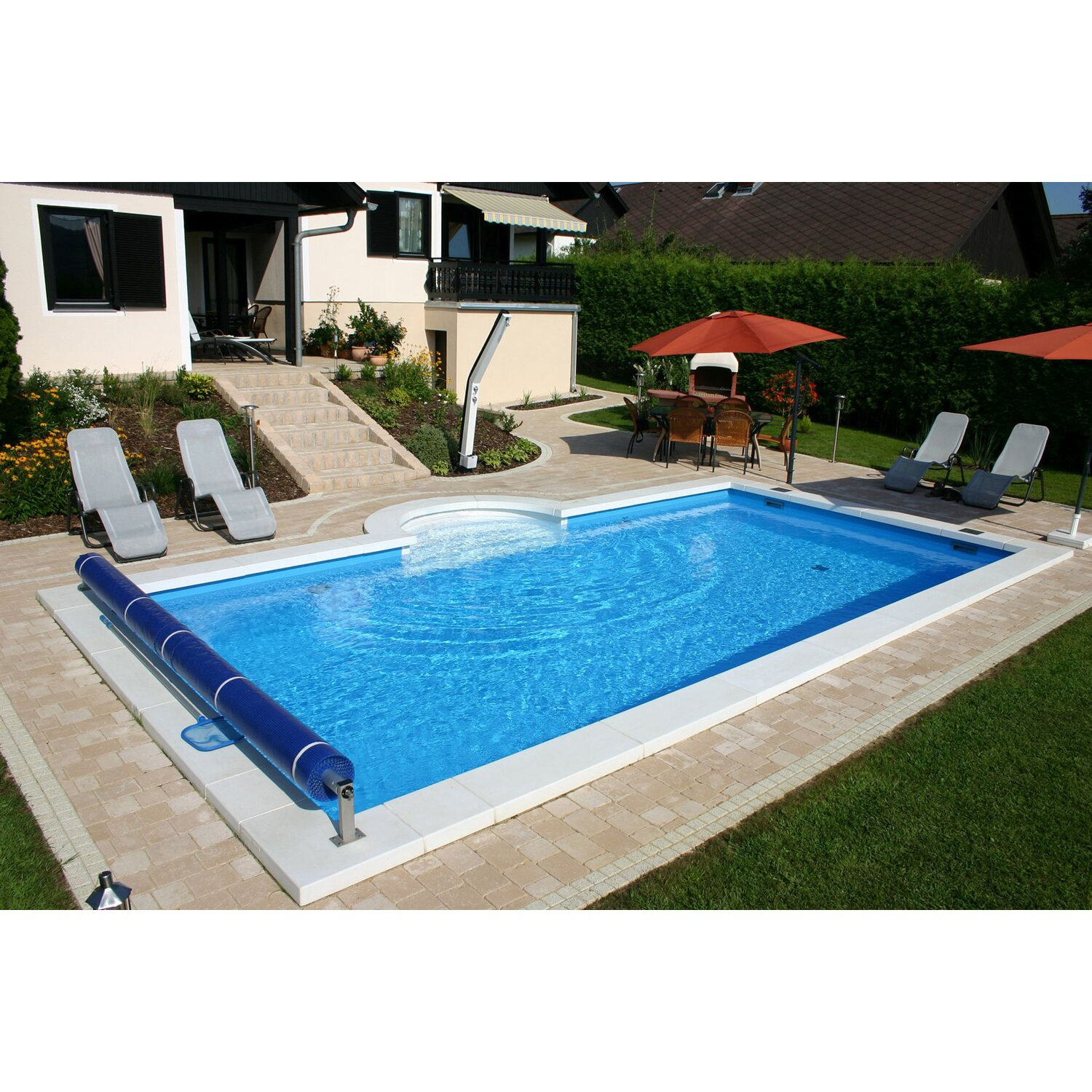 Summer fun styropor pool set lugano einbaubecken 700 cm x for Poolumrandung aufstellpool