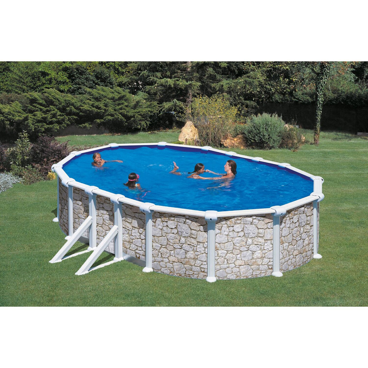 Holzpool set natur santo domingo aufstellbecken oval 533 for Obi holzpool