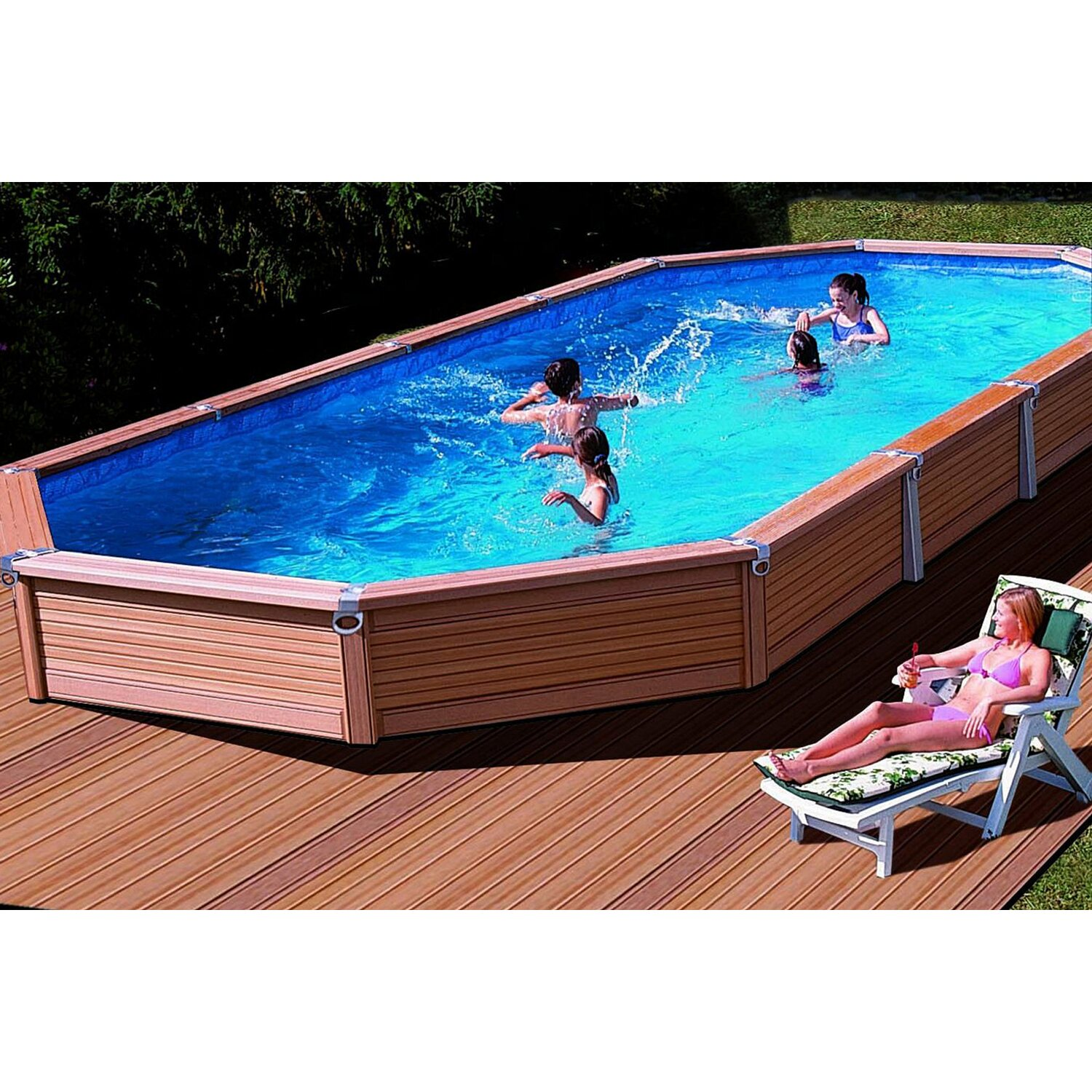 Summer fun pool set azteck einbaubecken ovalform 560 cm x for Obi holzpool