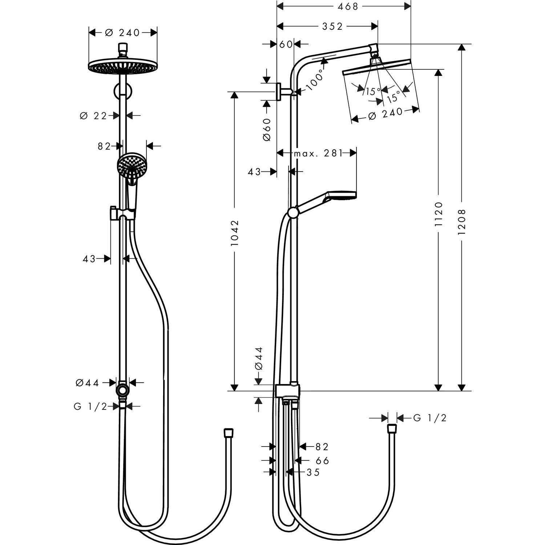 Hansgrohe Duschsystem Crometta S 240 Mm Mit Umsteller Ecosmart Weiss