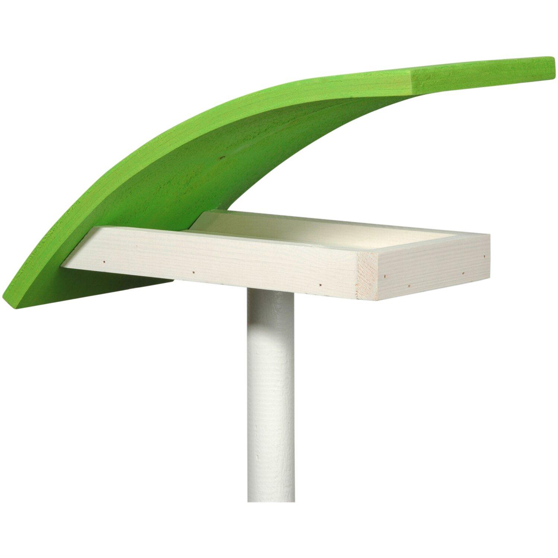"""Dobar Design-Vogelfutterhaus """"New Wave"""" in weiß mit hellgrünem Dach, inkl. Ständer"""