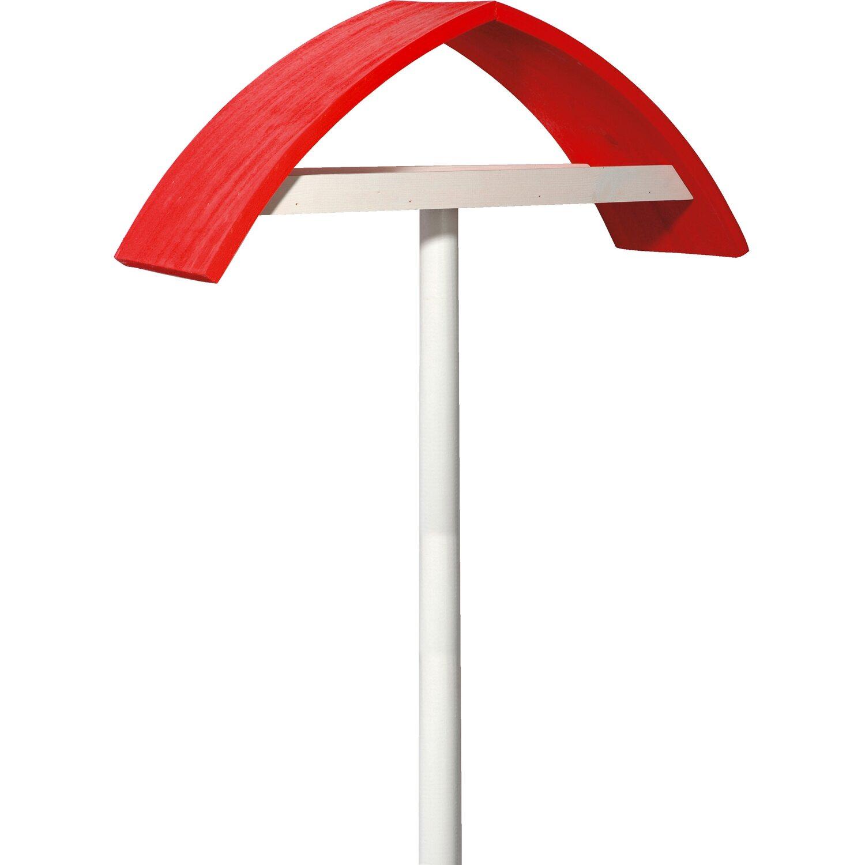 """Dobar Design-Vogelfutterhaus """"New Wave"""" in weiß mit rotem Dach, inkl. Ständer"""