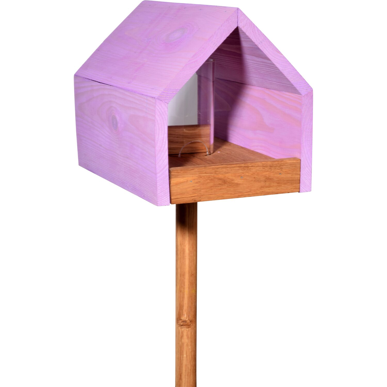 dobar eiche vogelfutterhaus mit satteldach mit st nder. Black Bedroom Furniture Sets. Home Design Ideas