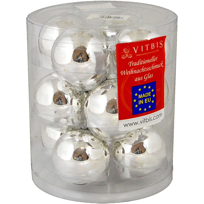 Vitbis glasweihnachtskugeln 6 cm 12 st ck silber kaufen bei obi - Obi weihnachtskugeln ...