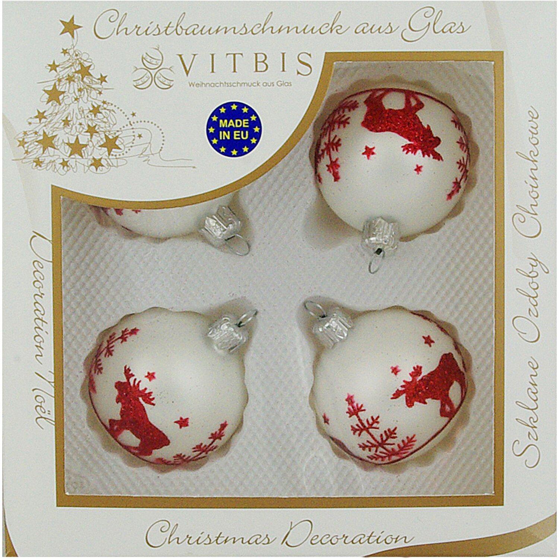 Vitbis glasweihnachtskugeln 6 cm 4 st ck dekor wei rot kaufen bei obi - Obi weihnachtskugeln ...