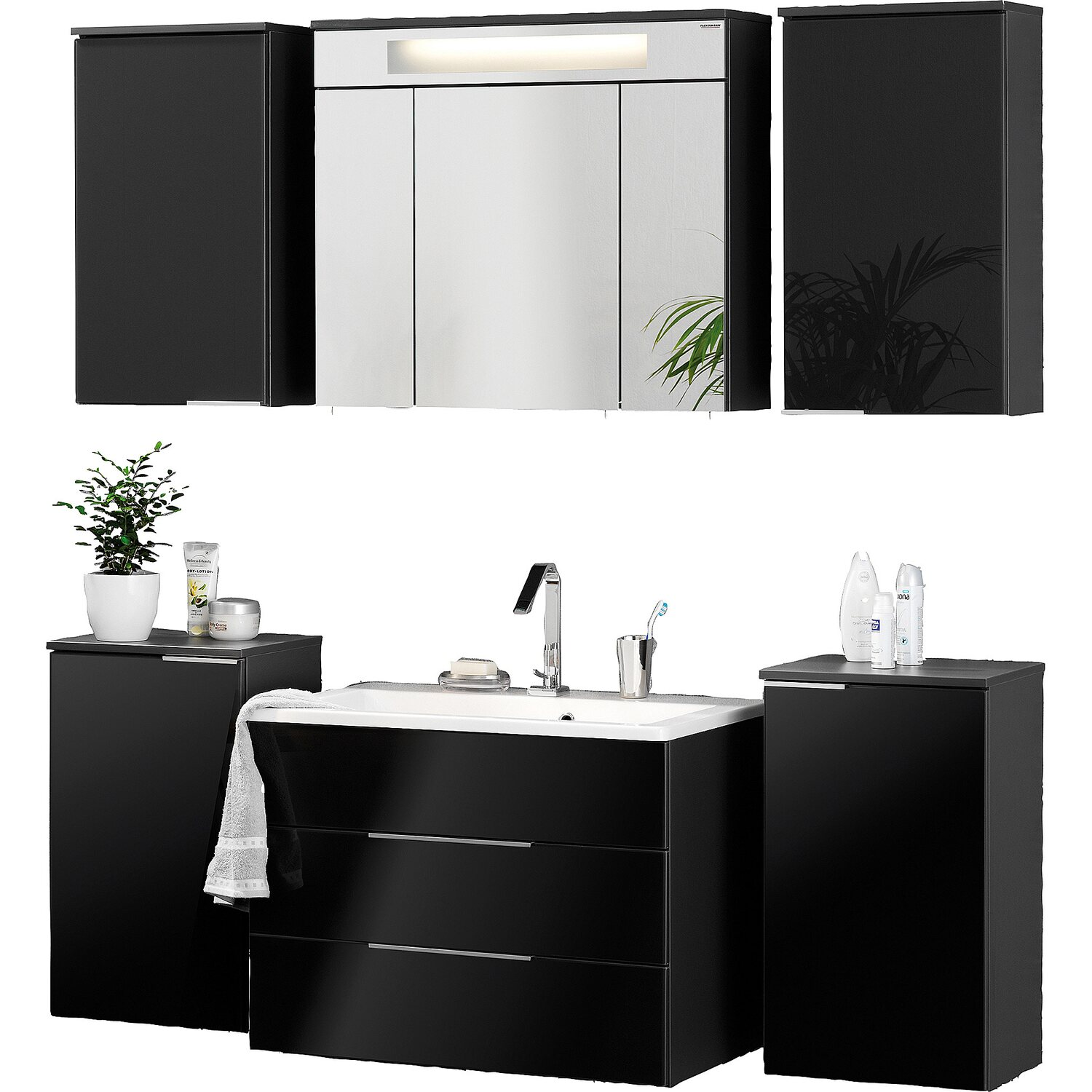 fackelmann badm bel set eek a kara anthrazit 7 teilig. Black Bedroom Furniture Sets. Home Design Ideas
