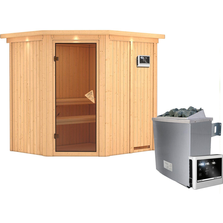 Karibu Sauna-Set Swenna inkl. Edelstahl-Ofen 9 kW mit ext. Steuerung, Dachkranz   Garten > Grill und Zubehör > Gartenkamine   Karibu