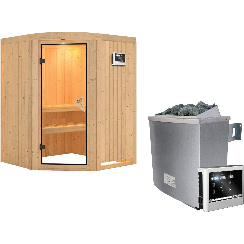 Karibu Sauna-Set Alva inkl. 9 kW Edelstahl-Ofen mit ext. Steuerung, Rundkranz   Garten > Grill und Zubehör > Gartenkamine   Karibu