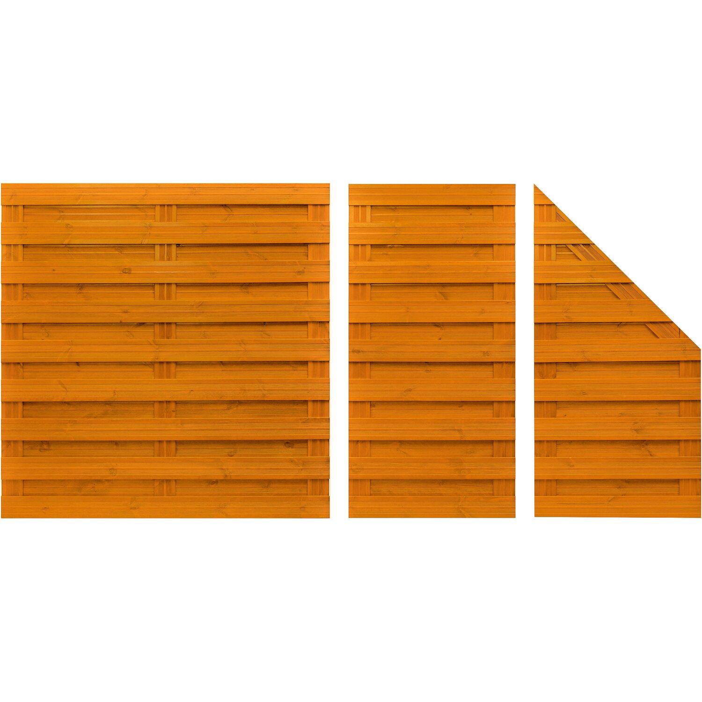 Sichtschutzzaun Element Goch Pinienfarben 180 cm x 180 cm kaufen