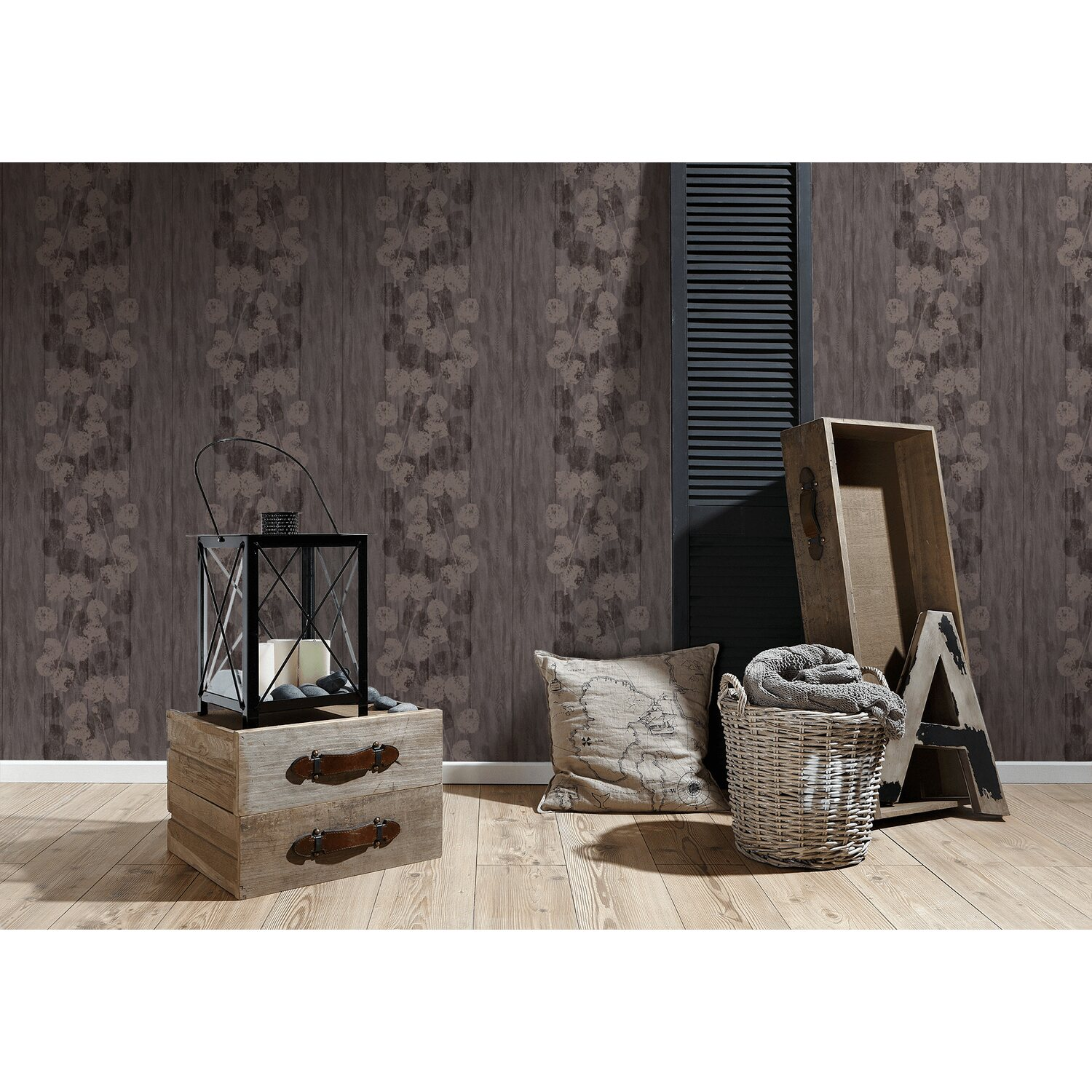 brigitte home vliestapete blumenranke braun kaufen bei obi. Black Bedroom Furniture Sets. Home Design Ideas