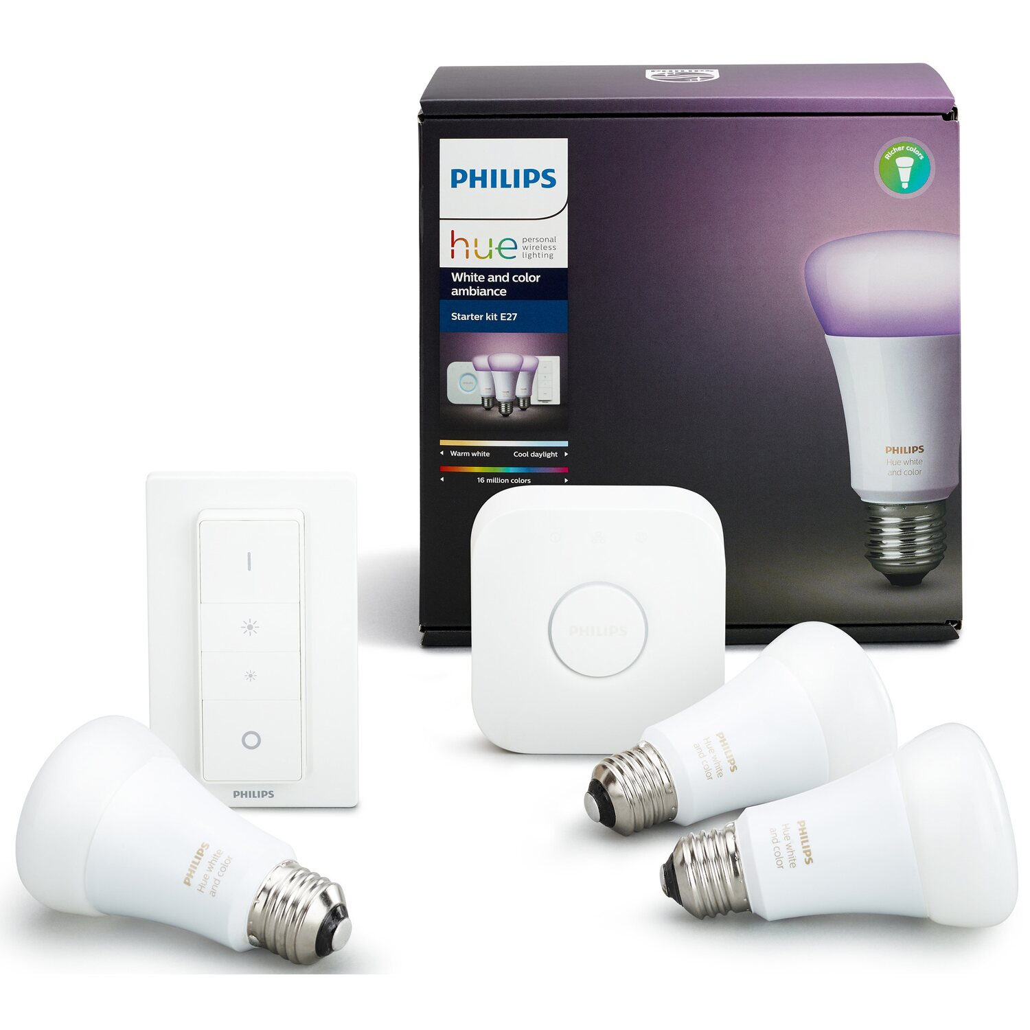 philips hue white color ambiance e27 led lampe starter set inkl dimmschalter kaufen bei obi. Black Bedroom Furniture Sets. Home Design Ideas