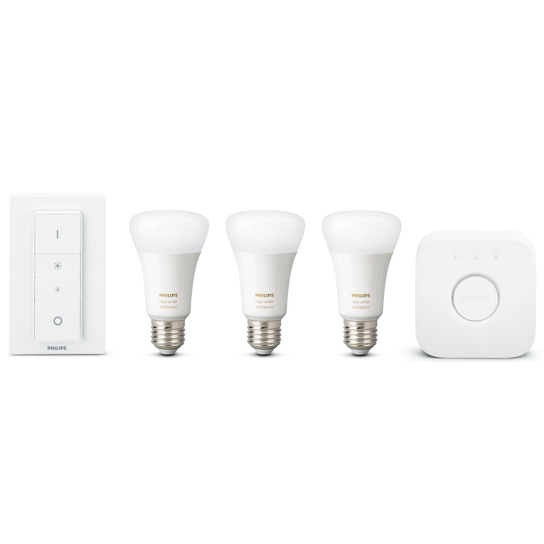 philips led lampen starter set hue white color ambiance e27 inkl dimmschalter kaufen bei obi. Black Bedroom Furniture Sets. Home Design Ideas