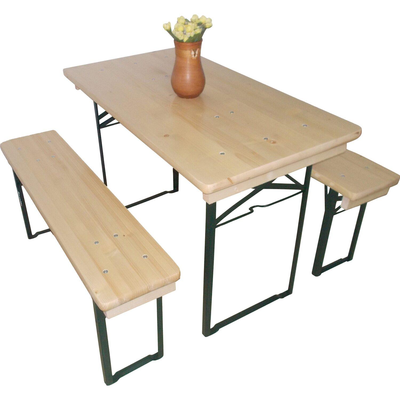 bda9ae259b4396 Bierzeltgarnitur 3-teilig mit Tisch 60 cm x 110 cm und 2 Bänken ...