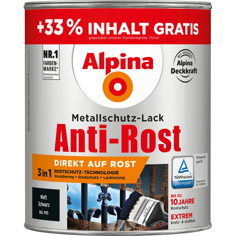 alpina metallschutz lack anti rost schwarz matt 1 l kaufen bei obi. Black Bedroom Furniture Sets. Home Design Ideas