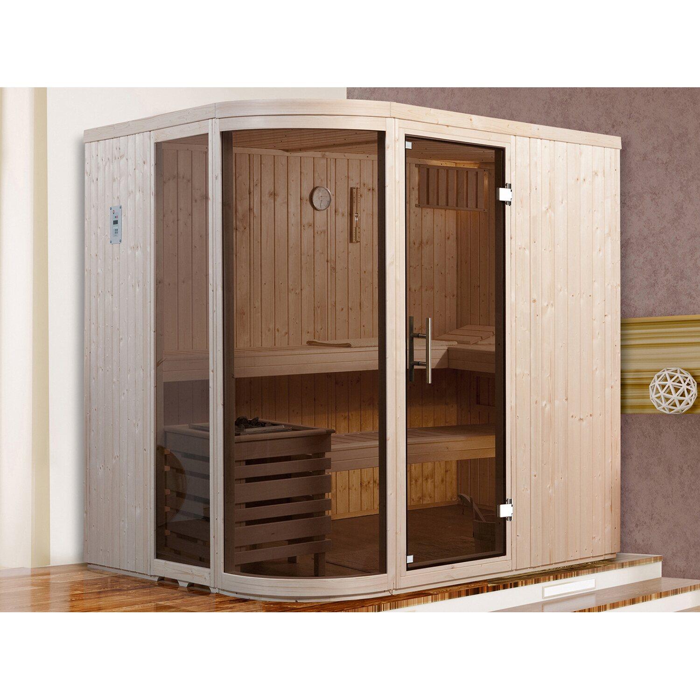 Weka Design-Sauna Sara + Ofen, ext. Steuerung, Glasfront und Glastür Graphit