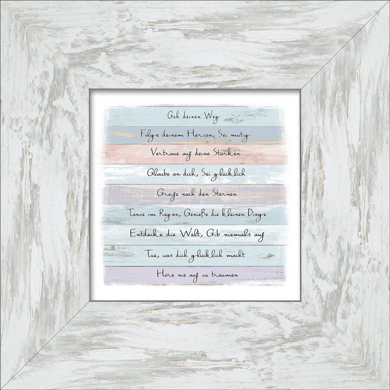Bild mit Rahmen Colourful Slogan 34 cm x 34 cm kaufen bei OBI