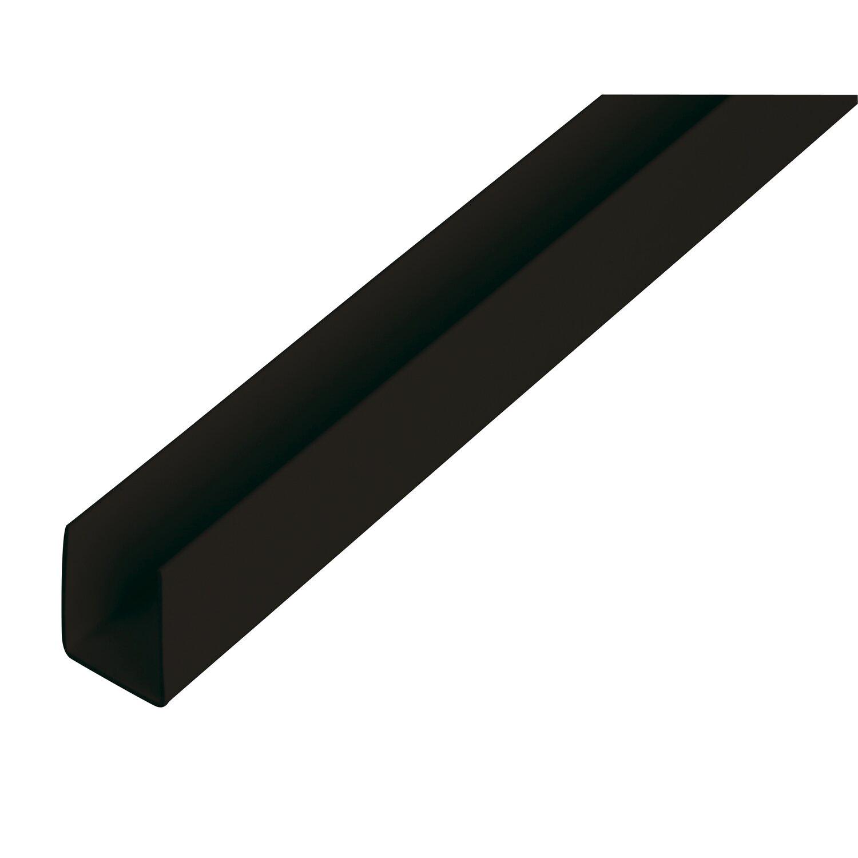 U-Profil Schwarz 10 mm x 18 mm x 1000 mm