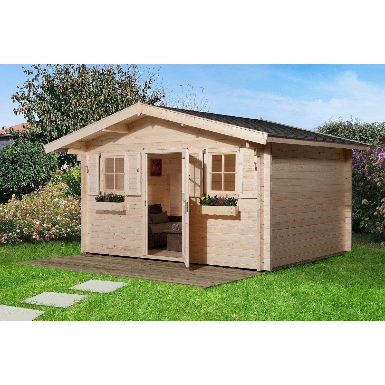 Weka Holz-Gartenhaus/Gerätehaus 135 Gr.1 Natur BxT:  380 cm x 360 cm davon 60 cm Vordach