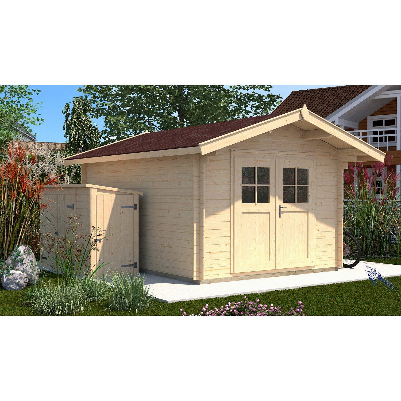 Weka Holz-Gartenhaus/Gerätehaus Premium28 Natur BxT 300 cm x 440 cm davon 60 cm Vordach