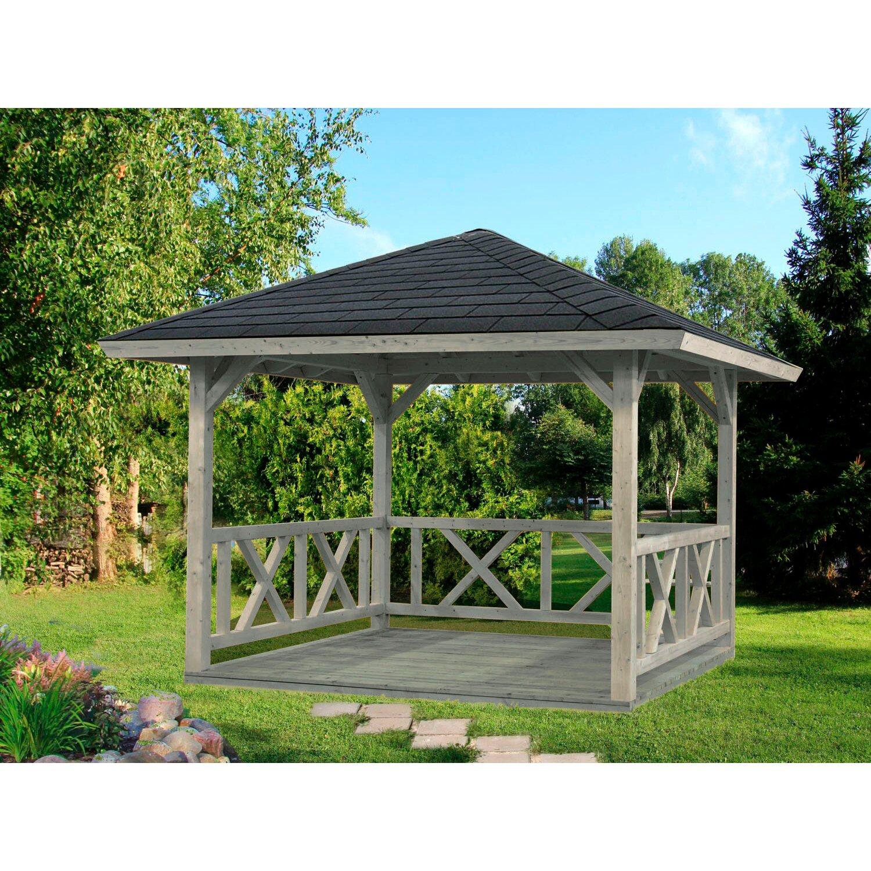 Sehr Palmako Holz-Pavillon Betty Grau imprägniert 300 cm x 300 cm ohne EC82