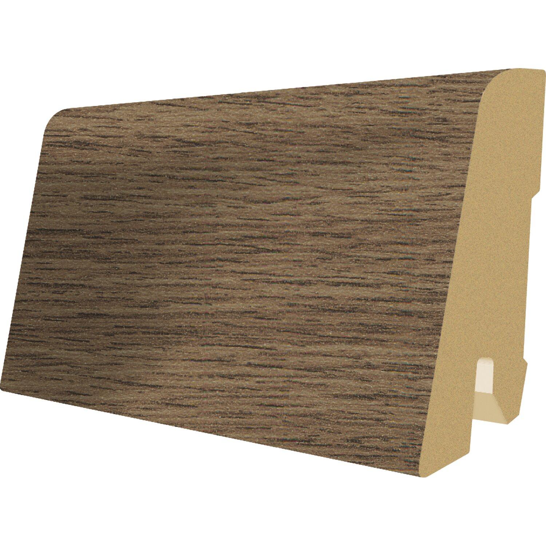 Kunststoff robust Inhalt 2 St/ück Holz Optik wei/ß grau EGGER Au/ßenecke Sockelleiste Eiche weiss f/ür einfache Montage von 60mm Laminat Fu/ßleisten