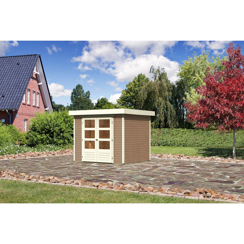 Karibu (Modul-) Holz-Gartenhaus/Gerätehaus Raala 3 Tür modern Sandbeige BxT: 242x217cm | Garten > Gartenhäuser | Karibu