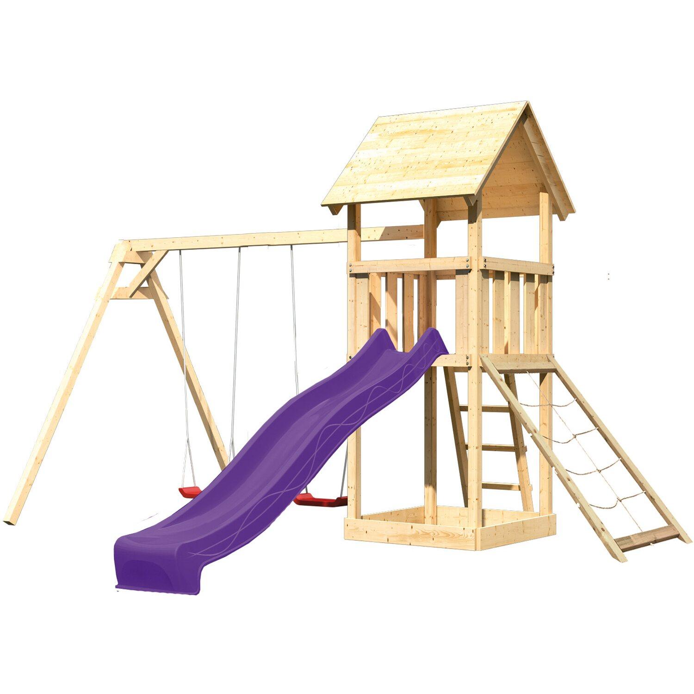 Akubi Spielturm Lotti mit Doppelschaukel, Netzrampe & Rutsche Violett | Kinderzimmer > Spielzeuge > Schaukeln & Rutschen | Violett | Akubi