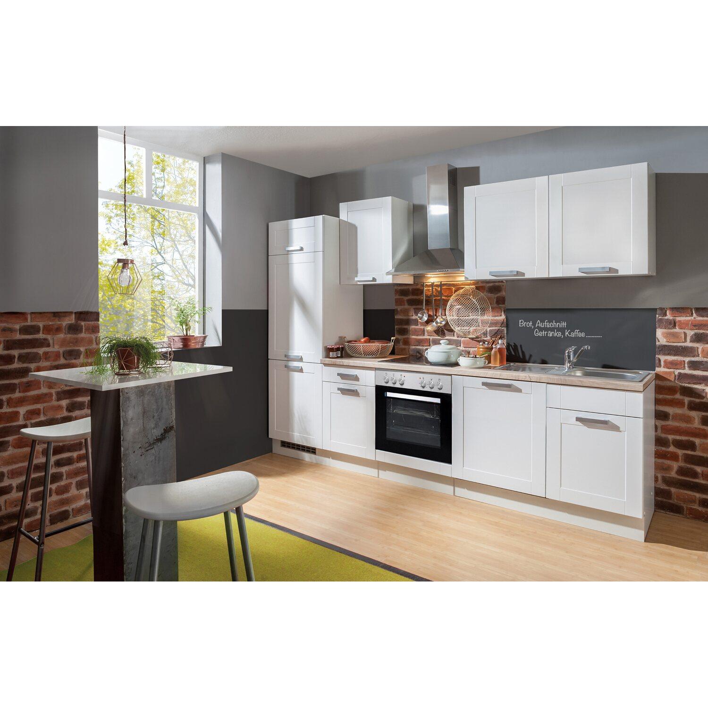 Menke Küchenzeile Matrix 280 cm Weiß Lacklaminat