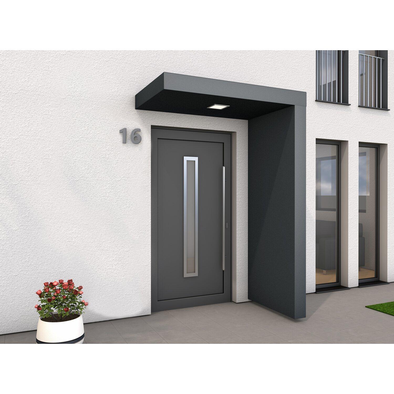 Rechteckvordach BS plus 160 cm x 90 cm Anthrazit mit Seitenteil Rechts   Baumarkt > Modernisieren und Baün > Vordächer   Gutta