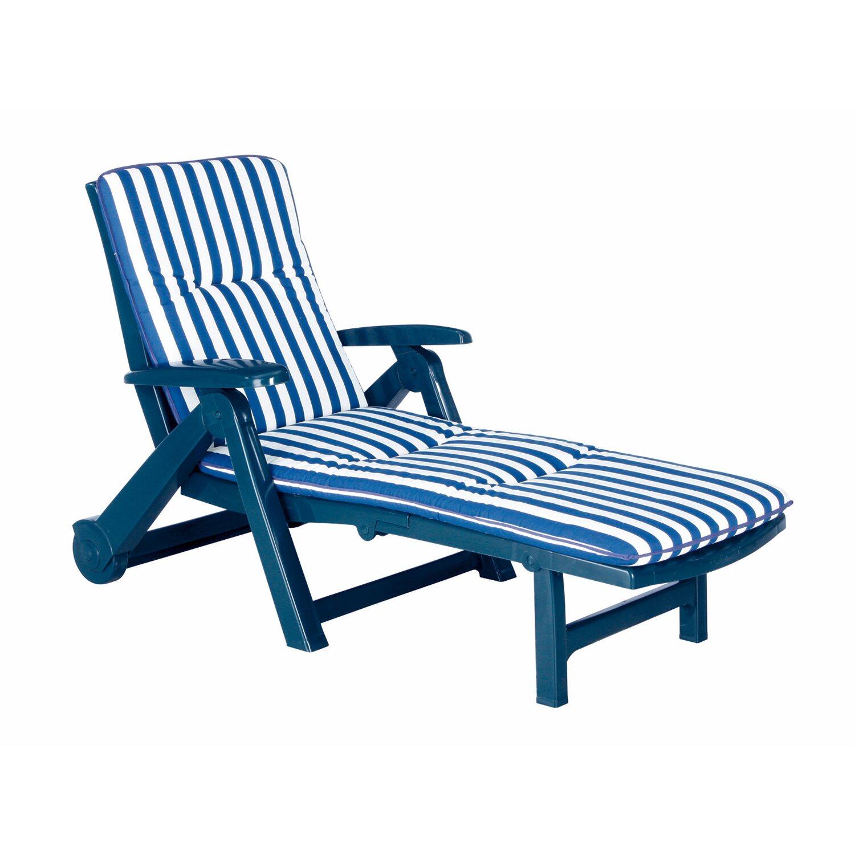 best freizeitmöbel Garten-Rollliege aus Kunststoff mit Auflage blau