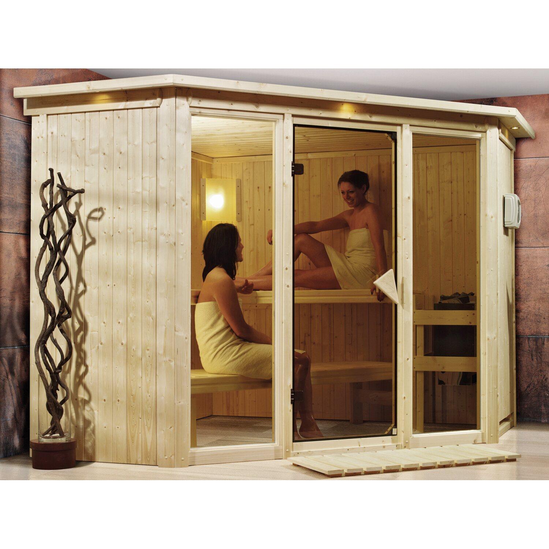 Karibu Sauna Frikka 2 Mit Eckeinstieg 68 Mm Inkl Glastur Led