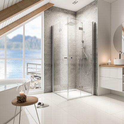 schulte drehfaltt r eckeinstieg garant alunatur echtglas. Black Bedroom Furniture Sets. Home Design Ideas