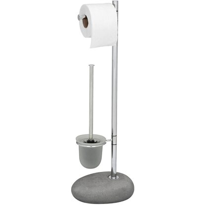 Wenko Stand WC-Garnitur Pebble Steingrau