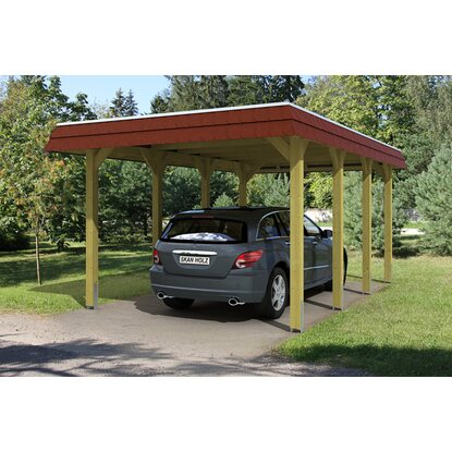 skan holz walmdach carport spreewald 345 cm x 589 cm blende in rot kaufen bei obi. Black Bedroom Furniture Sets. Home Design Ideas