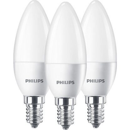 Philips LED-Leuchtmittel Kerzenform E14/5,5 W (470 lm) Warmweiß 3er-Pack EEK: A+